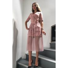 Платье с гипюровой юбкой розовое