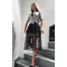Платье с гипюровой черной юбкой